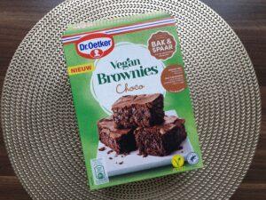 Voorkant doos Vegan brownies Dr.Oetker